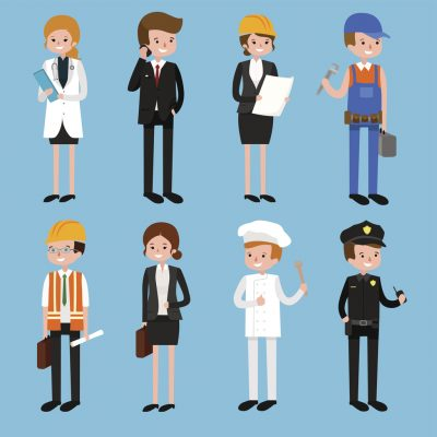 Vector flat profession character. profession people uniform, cartoon vector illustration