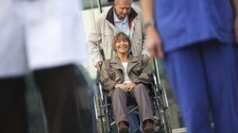 Senior couple leaving the Hospital